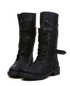"""Fashion Women's Mid-Calf Boots With Buckle and Lace-Up Design Color: BLACK, BROWN Size: 35, 36, 37, 38, 39, 40 Category: Shoes > Women's Shoes > Womens Boots   Gender: Women  Boot Type: Fashion Boots  Boot Height: Mid-Calf  Toe Shape: Round Toe  Heel Type: Low Heel  Heel Height Range: Low(0.75-1.5"""")  Closure Type: Lace-Up  Shoe Width: Medium(B/M)  Pattern Type: Solid  Embellishment: Buckle  Upper Material: PU   #bestdealonwomensboots #bestdealonwonboots #womensboots #boots #bridgat.com"""