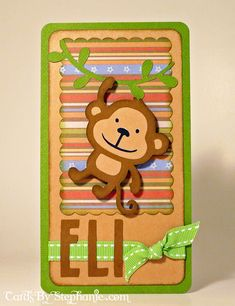 Baby Monkey Card with the Create a Critter Cricut Cartridge and DCWV Nana'a Kids Paper