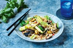"""""""Eat eggplants now while in season,"""" says chef and recipe author Paul West. Nothing says midweek dinners quite like a big bowl of comforting noodles."""