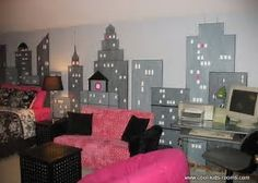 Image result for girls rooms with city wall paintings