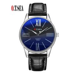 2.50$  Buy now - http://alipyc.shopchina.info/go.php?t=32724441699 - 2017 New O.T.SEA Brand Fashion Men Blue Ray Glass Leather Watch Casual Quartz Analog Watches Relogio Masculino W046 2.50$ #buyonlinewebsite
