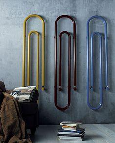 Giant paper clip radiators/towelrails by Scirocco Prodotti.who knew radiators could be decorative? Decorative Radiators, Modern Radiators, Wall Radiators, Contemporary Radiators, Vertical Radiators, Graffiti, 3d Modelle, Designer Radiator, Towel Warmer