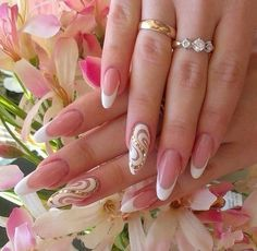 Fashionable nails 2016, Festive French nails, Festive nails, Fresh nails, Lacy nails, Nails for the bride, Nails with rhinestones ideas 2016, Oval French nails