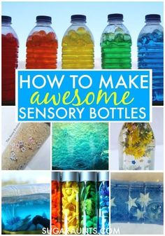 How to make sensory bottles. Lots of ideas for additions to sensory bottles for learning and sensory input here!