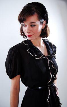 Vintage 1930s Dress  30s Black Dress  White Ric par concettascloset, $178,00