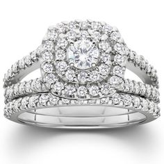 1 Cushion Halo Diamond Engagement Wedding Ring Set White Gold: This women's ring features a round diamond center stone and accent diamonds set in solid white gold. Engagement Rings Round, Engagement Wedding Ring Sets, Gold Wedding Rings, Halo Diamond Engagement Ring, Bridal Rings, Solitaire Diamond, Wedding Jewelry, Gold Rings, Wedding White