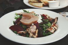 peter pan > poached pear and beet salad