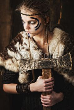 Photo: Female warrior with axe © Marcin Gardychowski #41224298 two front/side braids, makeup