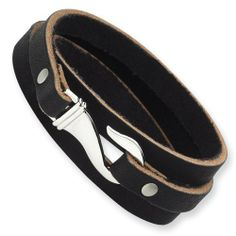 Stainless Steel Black And Brown Leather Wrap Bracelet Chisel. $34.50