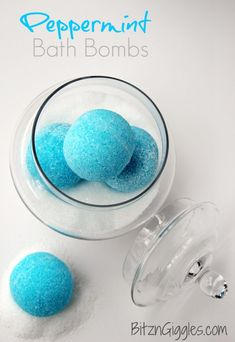 """Peppermint Bath Bombs - These """"blue snowballs"""" soothe, invigorate your senses with cool peppermint and transform your bath water color to an ocean blue. What's NOT to love about them?"""