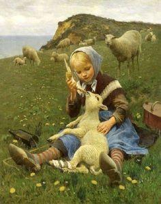 "(Green Country Art) ""Feeding the Lamb"" Hans Ole Brasen Tableau Pop Art, Sheep Art, Arte Country, Fine Art, Beautiful Paintings, Vintage Art, Illustrators, Art For Kids, Art Children"