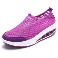 Comfortable Mesh Breathable Pure Color Slip On Athletic Platform Casual Sport Shake Shoes - NewChic Mobile.