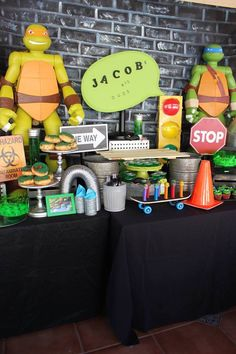 Main Table from a Teenage Mutant Ninja Turtles Party via Kara's Party Ideas | KarasPartyIdeas.com (21)