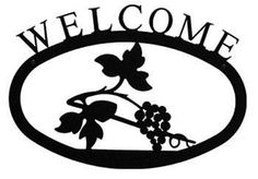 Wrought Iron Large Grapevine Welcome Home Sign Lg