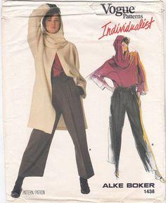 1980s Uncut Vogue Individualist 1438 Jacket Coat Shirt Pants Snood Hoddie Hood Designer Alke Boker Vintage Sewing Pattern Size 16 Bust 38