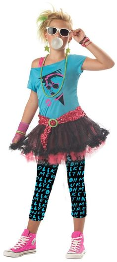 new new wave lauper madonna pop girls tween #80s valley girl costume size l xl from $17.95