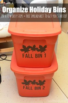 Organization Holiday Bins made with Cricut Explore -- Sew Woodsy. #DesignSpaceStar Round 3