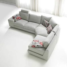 Carla Fabric Sofa - High Quality, Hand Crafted Leather Sofas: Darlings of Chelsea Corner Sofa Modern, Corner Sofa Living Room, Grey Corner Sofa, Living Room Sofa Design, Living Room Decor, Sofa Layout, Leather Sofas Uk, Leather Fabric, L Shaped Sofa