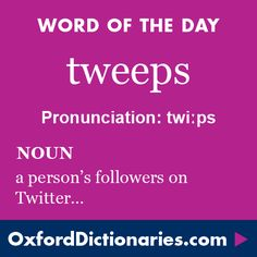 tweeps (noun): A person's followers on the social media website Twitter. Word of the Day for 27 May 2016. #WOTD #WordoftheDay #tweeps