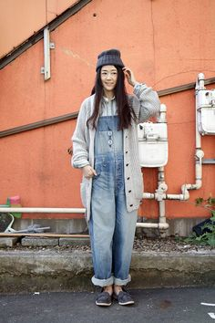 Japanese fashion: Oversize cardigan with denim overalls