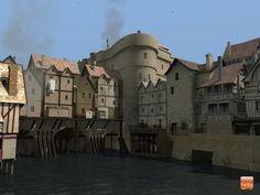 Au Moyen Age, avec les constructions qui s'élevaient sur lesponts, les passants franchissaient la Seine sans forcément se rendre compte qu'ils allaient d'une rive à l'autre. Ici, le Petit-Pont, qui existe toujours, et qui relie l'Ile de la Cité à la rive gauche.