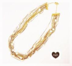 colar#comprido#voltas#correntes#strass#pérolas#dourado+prata #necklace