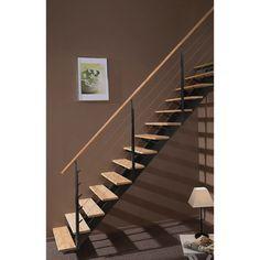 Escalier Escatwin ESCAPI, droit en bois et aluminium, 14 marches
