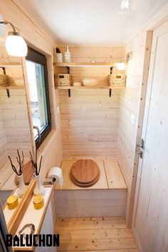 20 Tiny House Ostara by Baluchon Tiny House Ideas Baluchon House Ostara Tiny Tiny House Cabin, Tiny House Living, Tiny House Plans, Tiny House On Wheels, Tiny Houses, Cabin Bathrooms, Outdoor Bathrooms, Tiny House Bathroom, Tiny House Builders