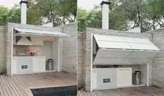 Outdoor kitchen protected by folding door :)
