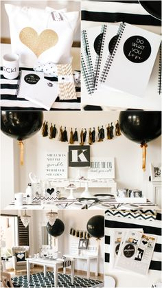 Love details in this black & white grown up party White Bridal Shower, White Baby Showers, Black White Parties, Black Party, 30th Birthday Parties, Grad Parties, Festa Party, Gold Party, Reveal Parties