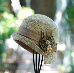 Quality Handmade Vintage 20's Style Tweed Fabric Cloche Hat - sold