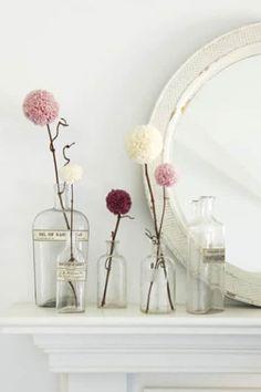 Niedliche Pompon-Blumen - DIY Valentinstagsgeschenk