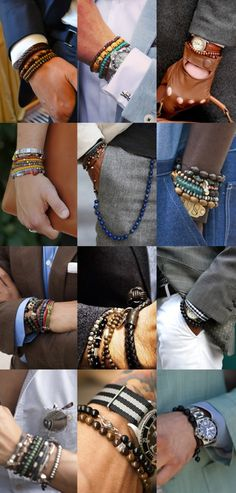 Men's Style Tips:  Men's Wrist Wear.  Take a look and see how you can rock your wrist.  There is a wide selection out there from beaded, to metal, to leather.  Wear them as a stand alone or stack them.  === Follow us on Pinterest for Style Tips, Men's Essentials, updates on our SALES etc... ~ VujuWear