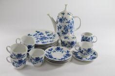 Porzellan Kaffeeservice Service mit blauem Floraldekor Tirschenreuth ~1970