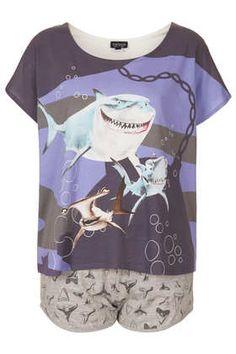 "Nemo Shark Print Pyjama Set ""FISH ARE FRIENDS NOT FOOD!"" #DearTopshop"