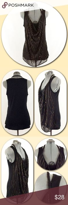 """Rock & Republic Black Beaded Halter Tank Top Rock & Republic Black with Gold Beaded Halter Tank TopUnique sheer beaded layer is connected to the front of the tank top. Adorned  with beautiful braided halter style straps. The sheer front drapes into a cowl neckline. Woven 100% Polyester, Knit 65% Polyester and 35% Rayon. Length of under tank top = 27"""". The length of the sheer overlay = 29"""". Excellent condition  Rock & Republic Tops Tank Tops"""