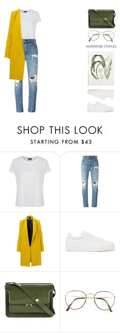 """Wardrobe Staple: White T-Shirt"" by missad3 ❤ liked on Polyvore featuring Brixton, Alexander Wang, Jil Sander, Marni, Benetton, WardrobeStaple and polyvorecontest"