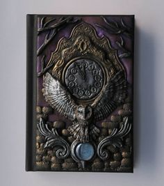 Labyrinth. polymer clay journal owl 13 clock 200 blank