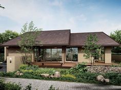 green and stone covering Modern Bungalow Exterior, Modern Bungalow House, Bungalow House Plans, Contemporary House Plans, Modern House Plans, Bungalow Haus Design, House Design, Japan Modern House, Small Country Homes