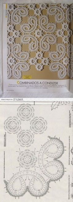 Crochet - bruges lace – HOW TO - loads of variations and photo tutorials Crochet Cord, Crochet Lace Edging, Freeform Crochet, Crochet Books, Crochet Squares, Filet Crochet, Irish Crochet, Crochet Doilies, Crochet Flowers
