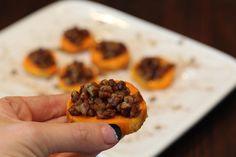 Cinnamon Butter Pecan Sweet Potato Bites.  Paleo and Gluten Free Side Dish, Thanksgiving appetizer