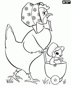 malvorlagen Die Henne mit dem Küken in einem Kinderwagen ausmalbilder