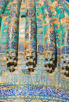 Detail of famous blue domes of Uzbekistan. Silk Road heritage of Timurid Empire Persian Architecture, Architecture Details, Timurid Empire, Turkic Languages, Persian Pattern, Mughal Empire, Silk Road, Central Asia, 14th Century