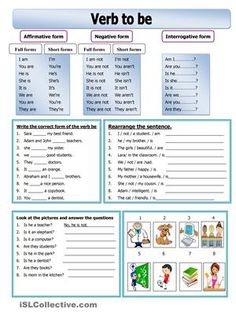 This worksheet is about verb be. It includes the verb be in the affirmative, negative and interrogative form. In addition to three exercises for more practice. Two excercises about affirmative and negative form of the verb be plus an exercise about short answersa big thanks to shusu00 :) - ESL worksheets