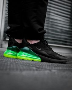 Nike Air Max 270 Black / Volt Credit : Overkill New Nike Air, Nike Air Max, Nike Shoes Outlet, Nike Free Shoes, Air Max 270, Nike Outfits, Work Outfits, Nike Air Force, Discount Nikes