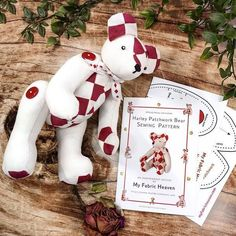 """Many sewing hobbyists struggle with mainstream patterns, so here at My Fabric Heaven we've designed a range of user-friendly, step-by-step guides that will help you sew your own cotton-critters with enjoyment and ease. #myfabricheaven #sewingproject #handmadetoy #stuffedtoys #softtoy #diytoys #sewingforkids #plushtoy #teddybear #stuffedanimal #softy Harley 14"""" #Patchwork #Teddy #Bear Paper Soft #Toy Sewing #Pattern #sewing #handmade #fabricaddict #sew #diy #sewingproject #sewingaddict Teddy Bear Sewing Pattern, Pattern Sewing, Christmas Sewing Patterns, Old Baby Clothes, Hanging Christmas Tree, Christmas Time, Projects For Adults, Patchwork Fabric, Sewing Toys"""