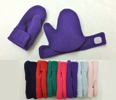 Toddler / Child Mittens - Easy On - Polar Fleece Velour Purple - Nine Different Colors. $14.00, via Etsy.