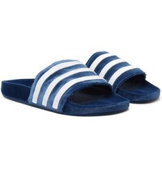 <a href='http://www.mrporter.com/mens/Designers/Adidas_Originals'>adidas Originals</a>' 'Adilette' slides have strong retro appeal; the design was first created in the early 1970s and its bold blue and white striping is in line with the graphic look of sportswear at the time. This version is made from plush velvet offset with moulded footbeds for the most comfortable, spongy feel underfoot. Try them with fresh white socks to m...