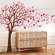 Autocollants de vinyle Wall Decal fleur de cerisier fleur arbre oiseaux bébé chambre decal enfants floral maison Wall Sticker autocollants pépinière enfants crèche