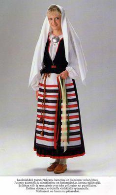 Folk costume of Ruokolahti, Karelia Finland Folk Costume, Costumes, Folk Clothing, Costume Patterns, Ethnic Dress, Nordic Style, Traditional Dresses, High Waisted Skirt, Folklore